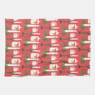 Festive Candles Print Red Tea Towels
