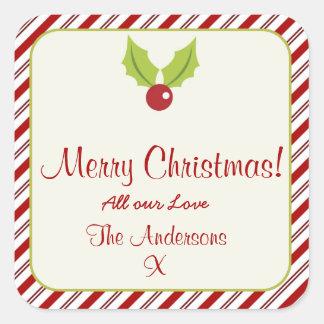 Festive Candycane Christmas Square Sticker