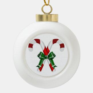 Festive Candystick Ceramic Ball Ornament
