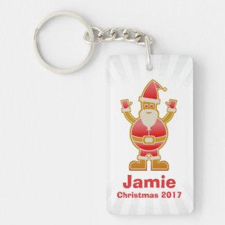 Festive Cartoon Santa Gingerbread Cookie Customize Key Ring