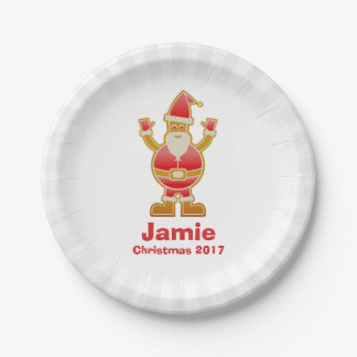 Festive Cartoon Santa Gingerbread Cookie Customize Paper Plate