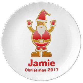 Festive Cartoon Santa Gingerbread Cookie Customize Plate