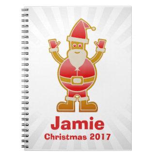 Festive Cartoon Santa Gingerbread Cookie Customize Spiral Notebook