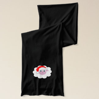 Festive Cartoon Sheep with Santa Hat Scarf