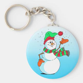 Festive Cartoon Snowman Key Ring
