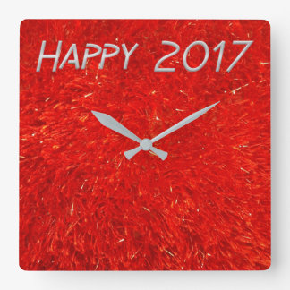 Festive Chic Bright Red Color Happy New Year 2017 Square Wall Clock
