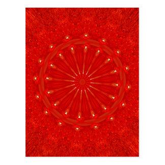 Festive Chic Bright Red Kaleidoscope Design Postcard