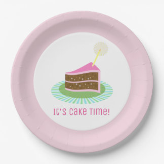 Festive Chocolate and Pink Birthday Cake Paper Plate
