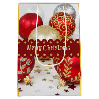 Festive Christmas Baubles, Merry Christmas Medium Gift Bag