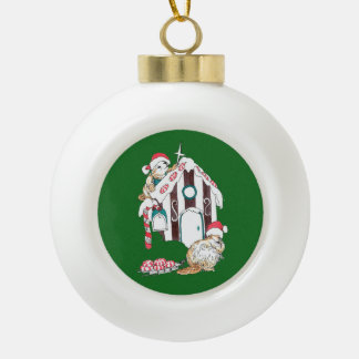 Festive Christmas Beaver Decorating Chalet Ceramic Ball Christmas Ornament