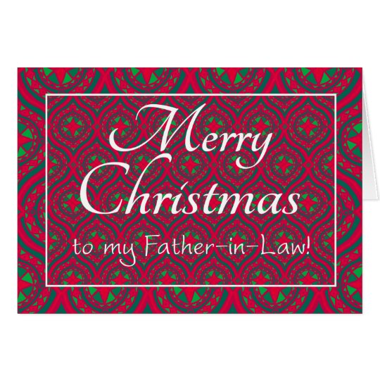Festive Christmas Card Father-in-law, Red, Green