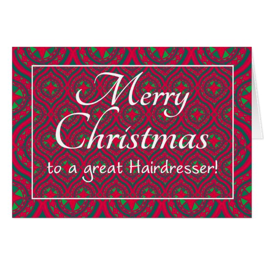 Festive Christmas Card, for Hairdresser Red, Green Card
