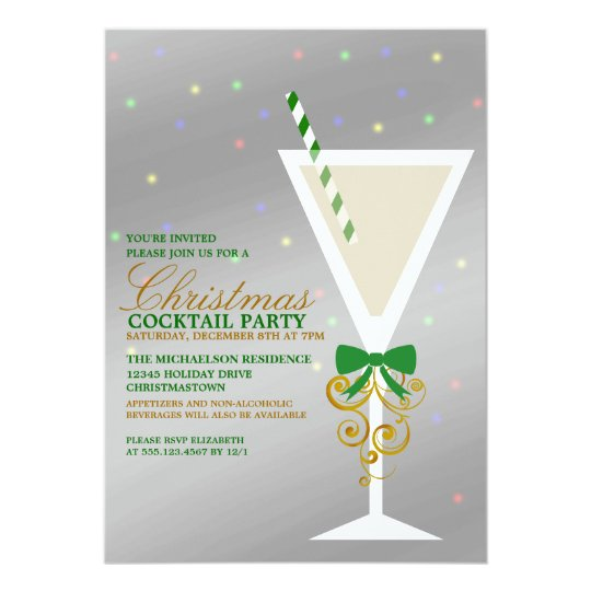 Festive Christmas Cocktail Party Invitation