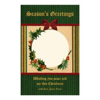 Festive Christmas Frame Red Bow Green Stripe Gold Custom Stationery