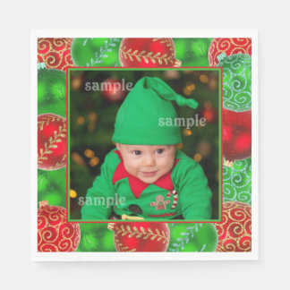 Festive Christmas Holiday Photo Template Disposable Serviettes
