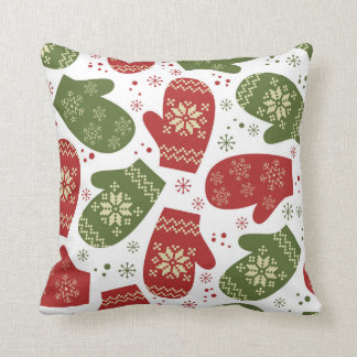 Festive Christmas mittens pattern decor pillow
