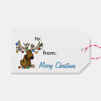 Festive Christmas Moose Gift Tags