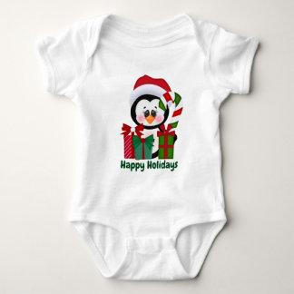Festive Christmas penguin add text baby unisex Baby Bodysuit
