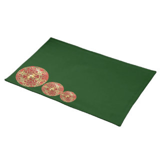 Festive Christmas  Placemats in Green, Red , Gold