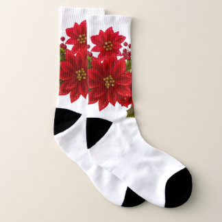 Festive Christmas Poinsetta Holiday socks 1