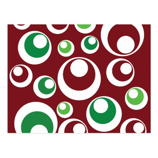 Festive Christmas Red Green Circles Dots Pattern Postcard