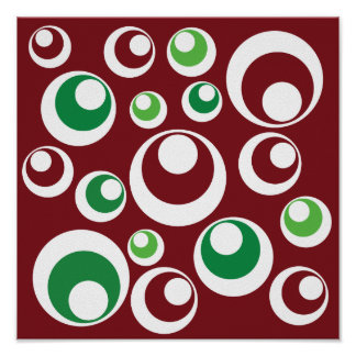 Festive Christmas Red Green Circles Dots Pattern Posters