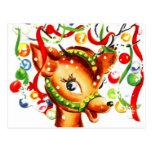Festive Christmas Reindeer Postcard