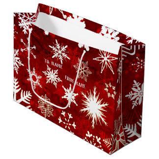 Festive Christmas snowflakes Large Gift Bag