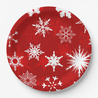 Festive Christmas snowflakes Paper Plate