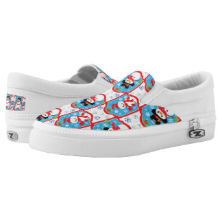 Festive Christmas snowman pattern Holiday shoes