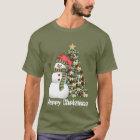 Festive Christmas snowman tree mens t-shirt