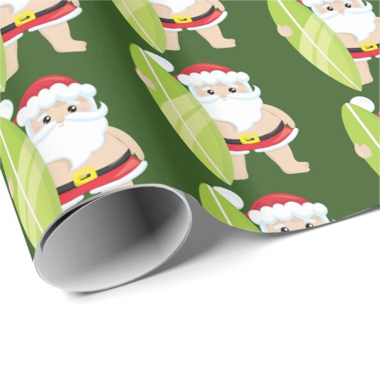 Festive Christmas Surfing Santa Tiled party wrap Wrapping