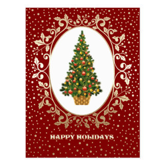 Festive Christmas Tree design Christmas Postcards