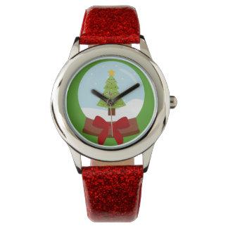 Festive Christmas Tree Snow Globe Watch