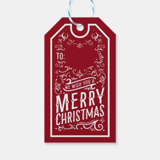 Festive Christmas Typography Personalised Gift Tag