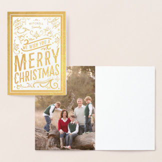 Festive Christmas Typography Photo Merry Christmas Foil Card