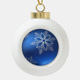 Festive Christmas White Snowflake on Blue Ceramic Ball Decoration