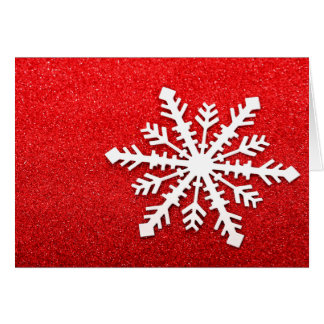 Festive Christmas Winter Snowflake on Red Glitter Card