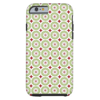 Festive Christmas Wreath and Star Pattern Tough iPhone 6 Case