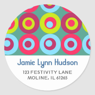 Festive Circles Address Labels Round Stickers