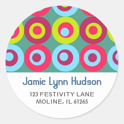 Festive Circles Address Labels Round Stickers