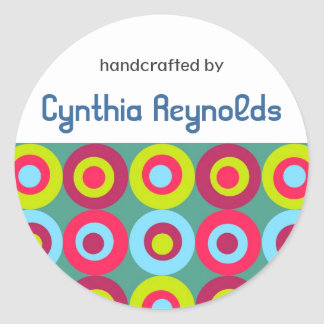 """Festive Circles """"Handcrafted By"""" Labels Stickers"""