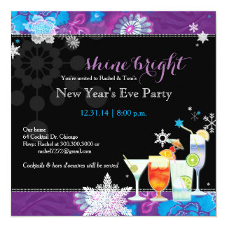 Festive Cocktails New Year's Eve Party 13 Cm X 13 Cm Square Invitation Card