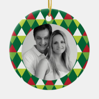 Festive Color Pattern Photo Christmas Ornament