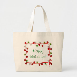 Festive Colorful Christmas Decor Ribbon Gifts Canvas Bag