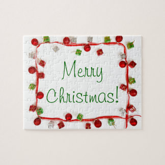 Festive Colorful Christmas Decor Ribbon Gifts Puzzle