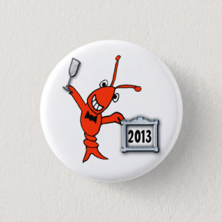Festive Crawfish Lobster 2013 New Year Button