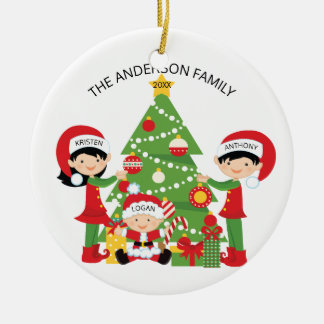 Festive Cute Family of 3 Personalized Christmas Christmas Ornament
