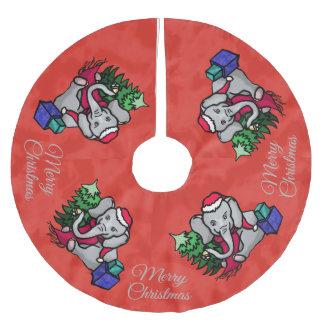 Festive Cute Merry Christmas Santa Elephants Brushed Polyester Tree Skirt