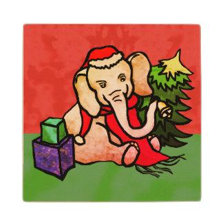 Festive Cute Seasonal Santa Cartoon Elephant Wood Coaster